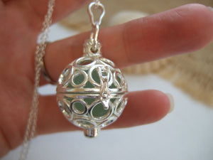 round locket with sea glass marble