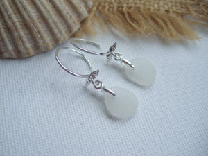 white sea glass earrings with angel wings