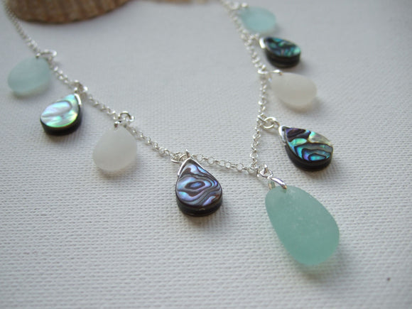 abalone sea glass necklace