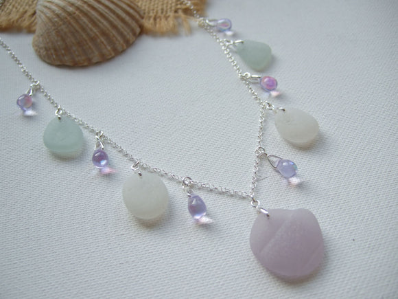 lavender alexandrite bead sea glass necklace