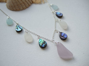 abalone lavender sea glass necklace