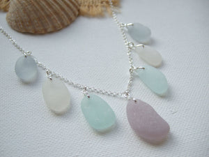 lavender sea foam gray sea glass necklace