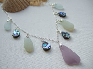 dark lavender abalone sea glass necklace