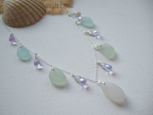 white sea foam alexandrite sea glass necklace