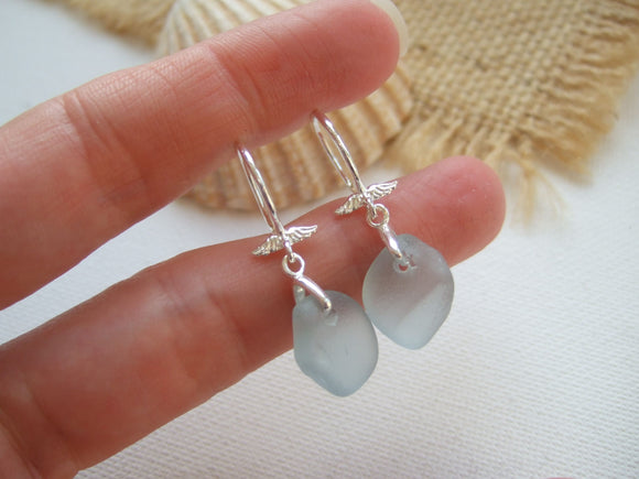 grey sea glass angel wing earrings