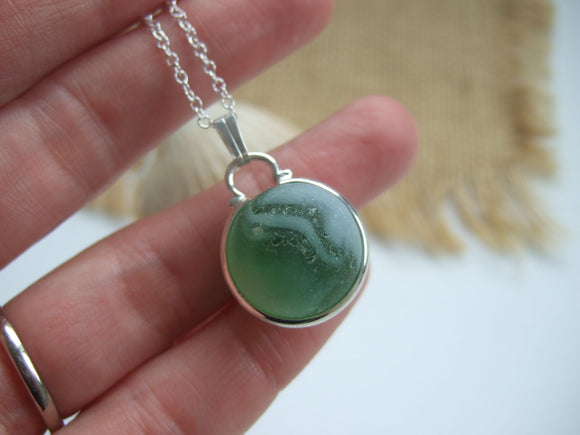 green sea glass marble necklace