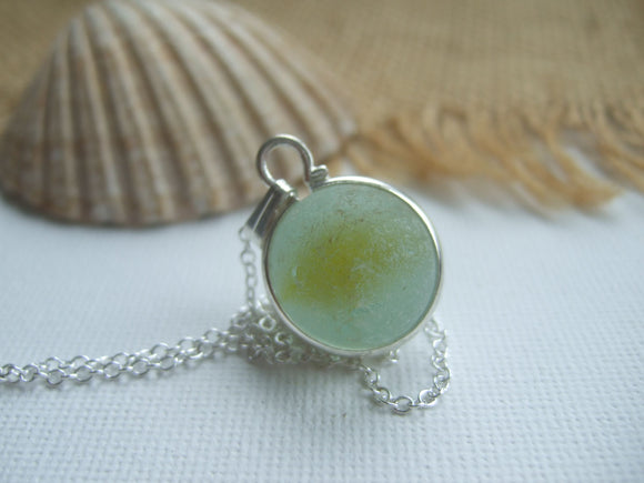 yellow cats eye sea glass marble necklace