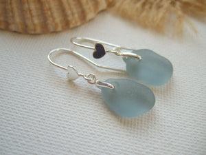 heart design grey sea glass earrings