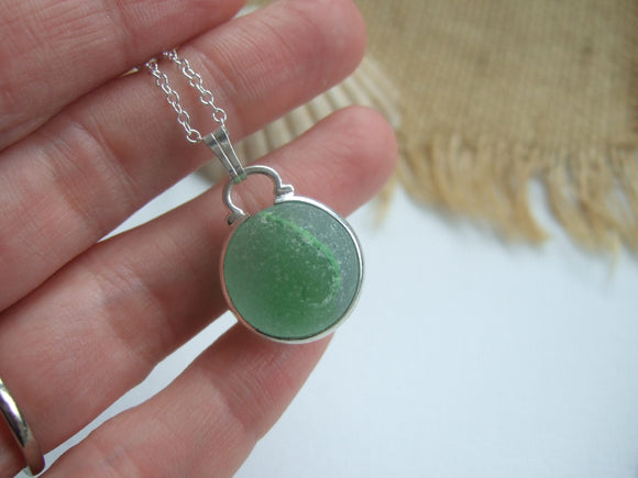 green sea glass cats eye marble necklace