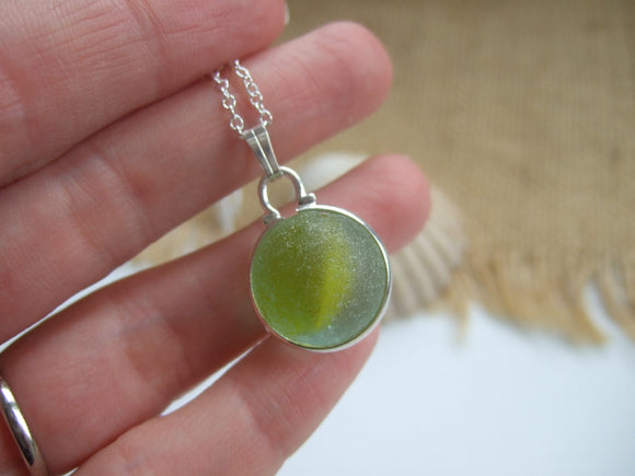 yellow sea glass marble pendant