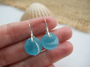 turquoise sea glass marble earrings