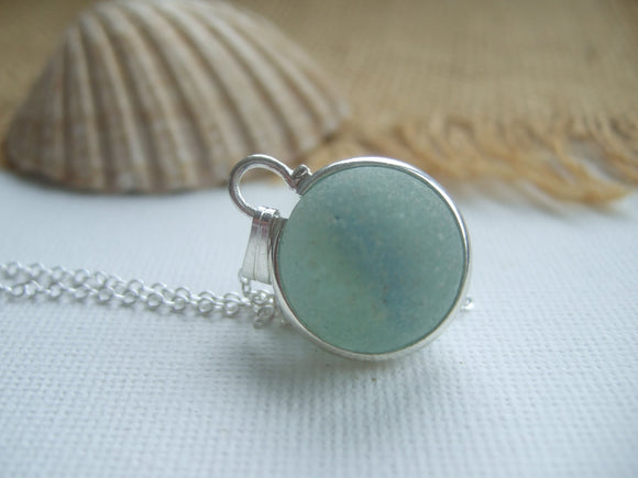 very light blue sea glass marble necklace