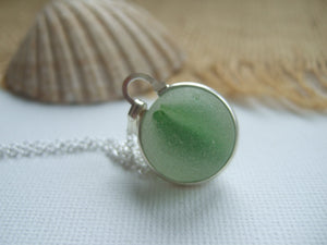 green sea glass marble necklace from england