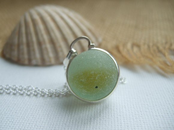 yellow beach glass marble necklace