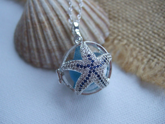 starfish locket with turquoise sea glass marble