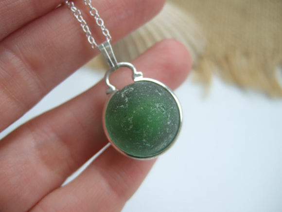 dark green sea glass marble pendant