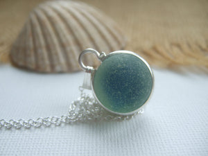 blue sea glass marble necklace bezel set