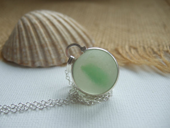 light green sea glass marble necklace