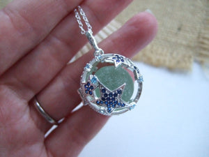 star fish locket with codd sea glass marble