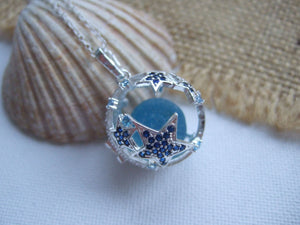 star fish locket with sparkles and turquoise sea glass marble
