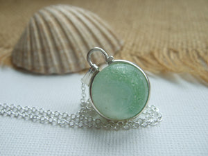green white opaque beach glass marble necklace