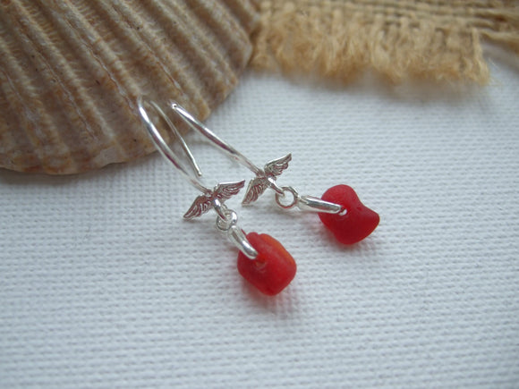 petite red sea glass earrings with angel wing setting