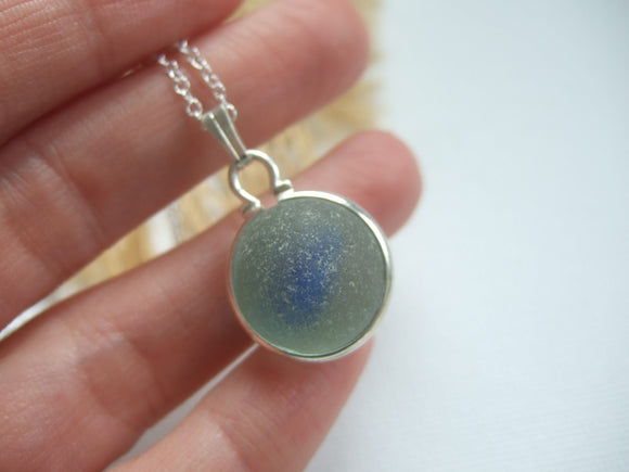 english blue sea glass marble necklace