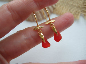 red sea glass and gold earrings