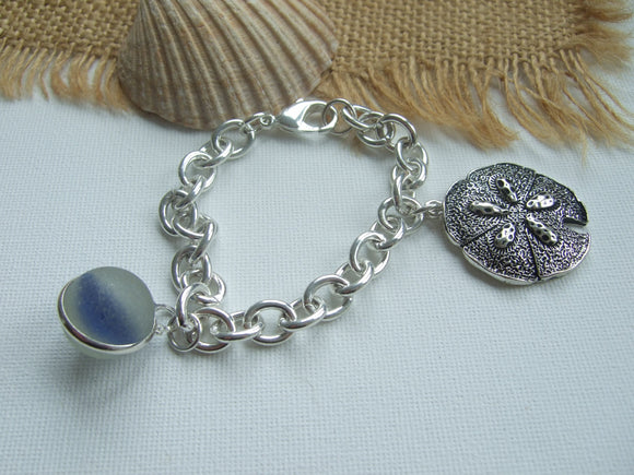 sea glass marble bracelet with sand dollar