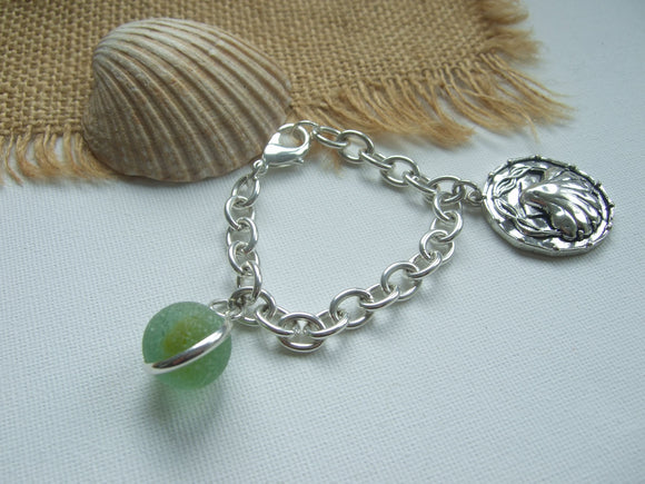 sea glass marble bracelet with shell charm