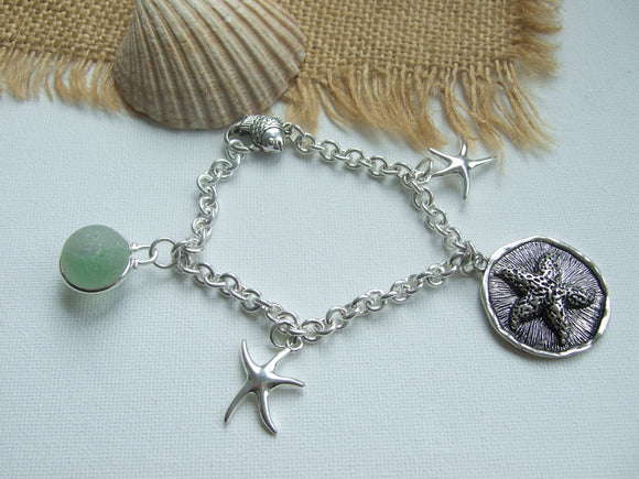 sea glass marble bracelet with starfish charm