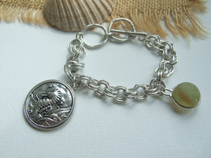 sea glass marble bracelet with seahorse