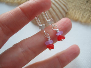 purple and red sea glass heart earrings
