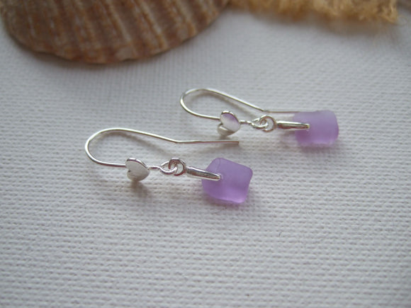 purple heart dangling sea glass earrings
