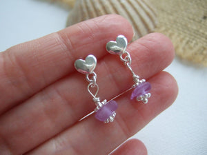 neodymium purple sea glass heart stud earrings
