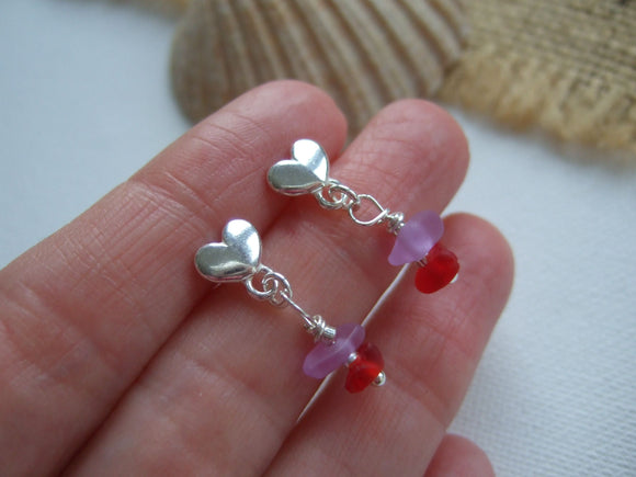red and purple sea glass heart stud earrings
