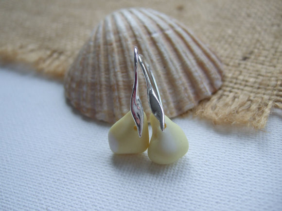yellow milk sea glass wave design earrings
