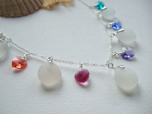 heart crystal necklace with white sea glass