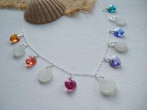 heart crystal rainbow necklace with white sea glass