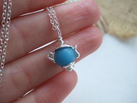 turquoise sea glass bead teapot necklace