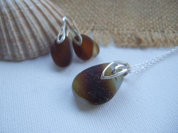 brown sea glass jewellery set
