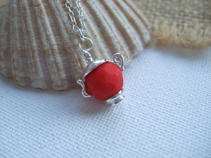 red sea glass bead teapot necklace