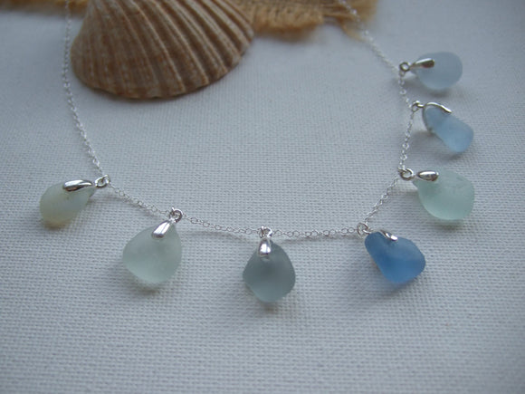 water colour sea glass necklace