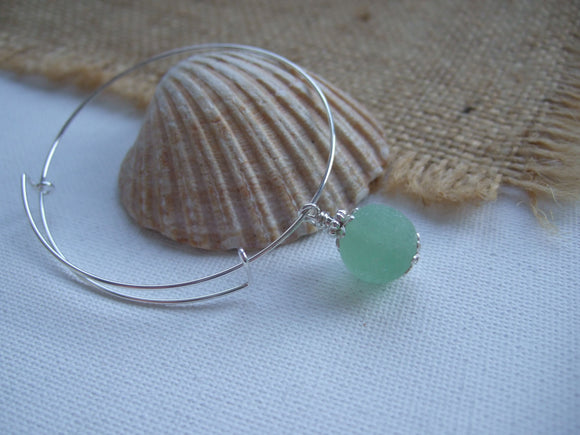 Sea Glass Marble Bangle - Sterling Silver Expandable
