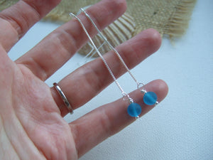 turquoise sea glass bead earrings