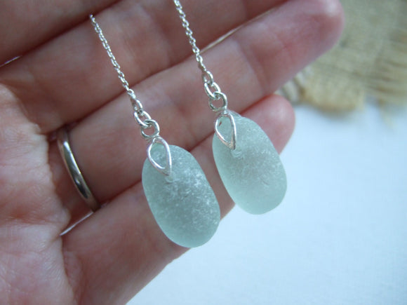 stopper stem sea glass threader earrings
