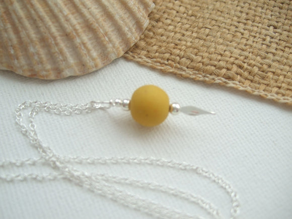 yellow sea glass bead necklace