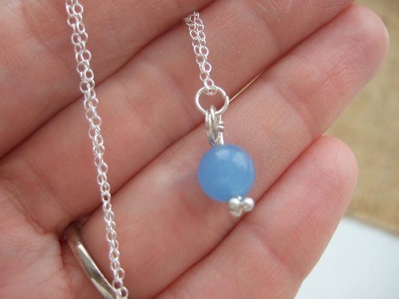 baby blue sea glass bead necklace
