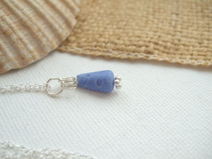 drop shaped sea glass bead necklace