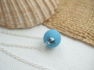 turquoise milk sea glass bead minimalist necklace